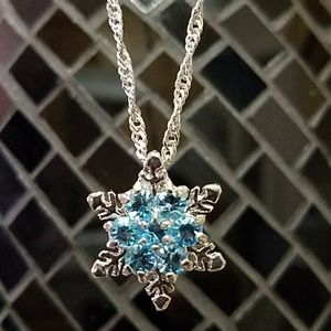 Blue Snowflake Necklace